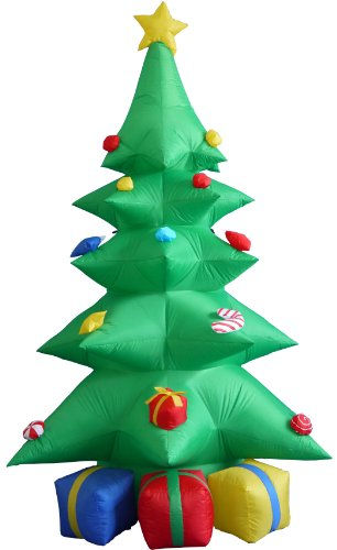 BZB Goods 8 Foot Tall Inflatable Green Christmas Tree with Multicolor Gift Boxes and Star Outdoor Indoor Holiday Decorations Blow up Lawn Inflatables Home Family Decor Party Yard Decoration