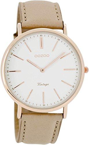 Oozoo Unisex Datum klassisch Quarz Uhr mit Leder Armband C7330