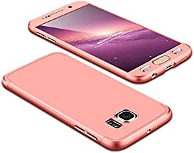 Case Samsung Galaxy S6 360 Degrees protective Cover + tempered glass film, 3 in1 Full Body protection Bumper hard phone Case Ultra-thin Skin Case,for Samsung Galaxy S6 (Rose gold)
