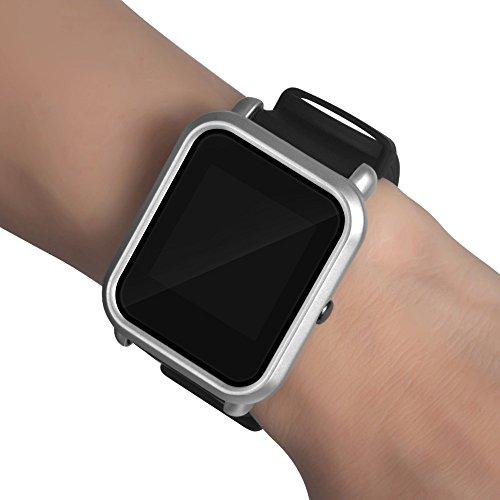 Plastico Funda Compatible con Amazfit Bip Compatible con Amazfit BIP LITE, Reloj para Smartwatch Marco de Colores Fundas de Carcasa Protector (Plata)