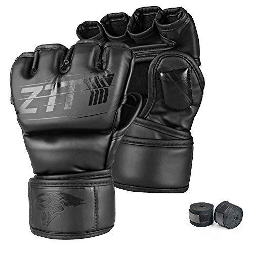 MMA Gloves, Seektop Mixed Martial Arts Grappling Gloves Reinforced Pad for Men Women Boxing Gloves for Kickboxing, Sparring, Muay Thai and Heavy Bag (L(8.66' and up))