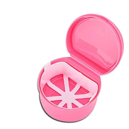 Una dentadura de dientes titular de la envoltura a prueba de fugas del tanque de almacenamiento de cartuchos de la dentadura de limpiar el filtro de contenedores Sea o Empapado viaje de noche (rosa)