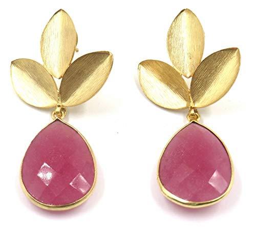 Jewelshingar Jewellery Fine Semi Precious Pink Agate Earrings For Women (52232URVI)
