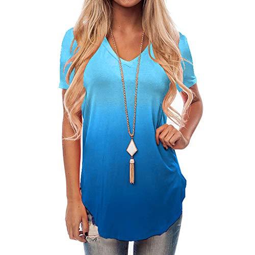 VEMOW Los más vendidos Camiseta Tops Las Mujeres cruzan el Hombro frío V Cuello Manga Corta Blusa(YC Azul,XL)