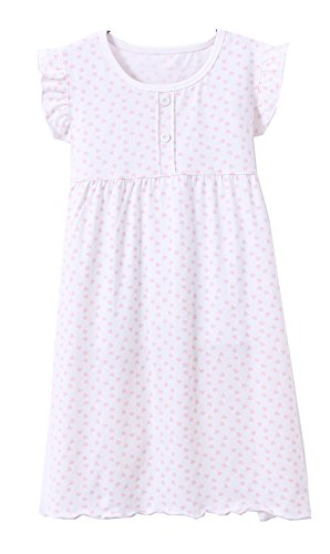 ABClothing Vestido de Noche con Volantes y Mangas de algodón para niñas 2-14 años de antigüedad Rosa y Blanco