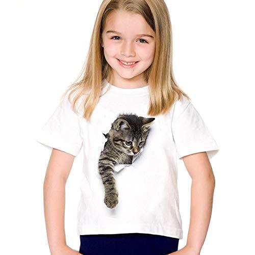 ACARYI Fille à Manches Courtes Imprimer Chat 3D T-Shirts Simple Casual Mode Enfants Vêtements d'été Mignon (Style 2,9T)