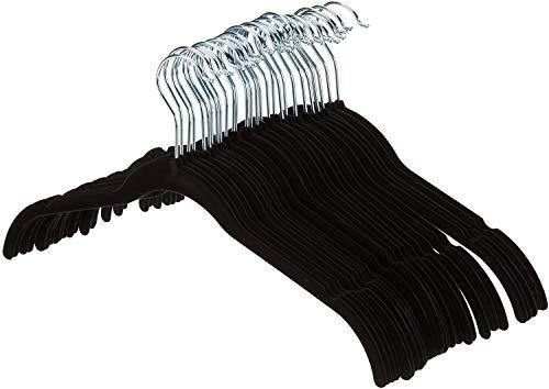 Amazon Basics Kleiderbügel für Hemd / Kleid, mit Samt überzogen, 30er-Pack, Schwarz