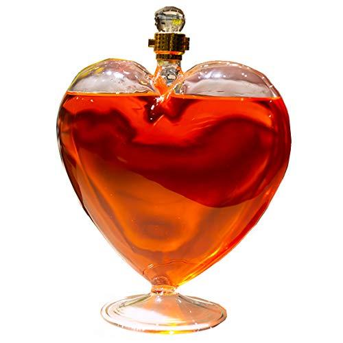 ZYGF Decantador de whisky, decantador de licor de vidrio, en forma de corazón, 1000 ml, juegos de vidrio de whisky sin plomo para decoración de la cena del hogar, para licor, whisky, bourbon, ginebra