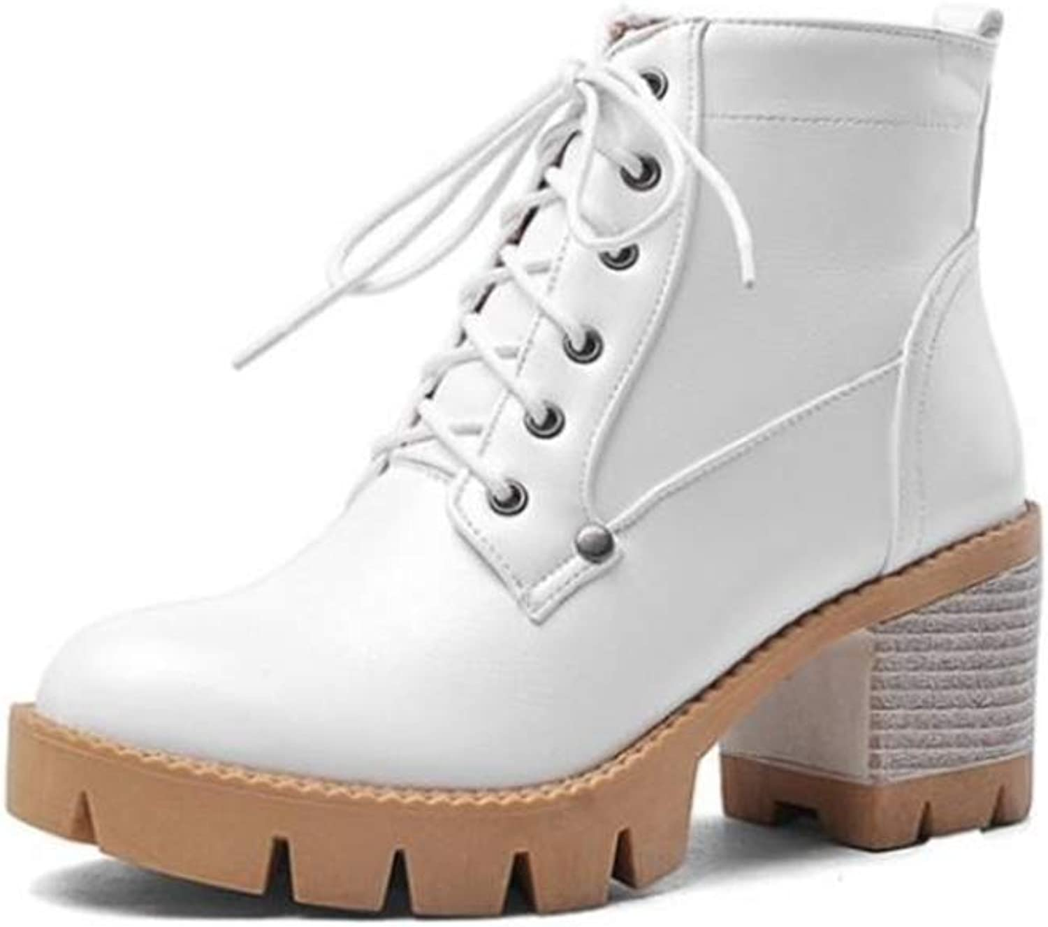Smart.A Women's Combat Style Lace up Ankle Bootie