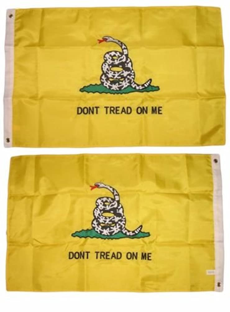 Moon 2x3 Embroidered Gadsden Culpepper 210D Double Sided Nylon Flag 2x3 2 clips - Bright Color UV Resistant - Prime Outside Garden Cave Home Decor