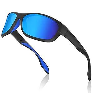 Avoalre Gafas de Sol Hombres Polarizadas Gafas Deportivas Unisex Anti UV400 Marco TR90 Súper Ligero y Mujer Ciclismo MTB Running Coche Moto Montaña - Azul
