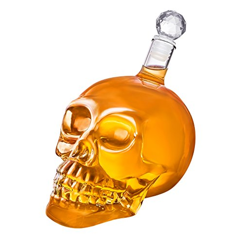 FuKiPro Funky Kitchen Products doodskop-karaf - schedelfles van glas met kurk [350ml, 550ml of 1000ml] Skull Head glazen karaf voor whisky, wijn en sterke drank