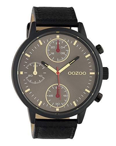 Oozoo herenhorloge chrono look met lederen band 50 MM zwart/grijsbruin C10532