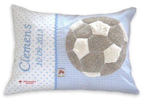 Glückspilz Namenskissen Babykissen I Fußball I mit Namen personalisiert I Geschenk zu Geburt, Taufe oder Geburtstag I Hellblau