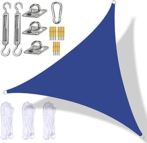 Triángulo Shade Sail, Garden Sun Shade Spade Toldo Impermeable Toldo UV Block Toldos para Patio Deck Yard Backyard Harden Garden Actividades al Aire Libre,Azul,3x3x3m