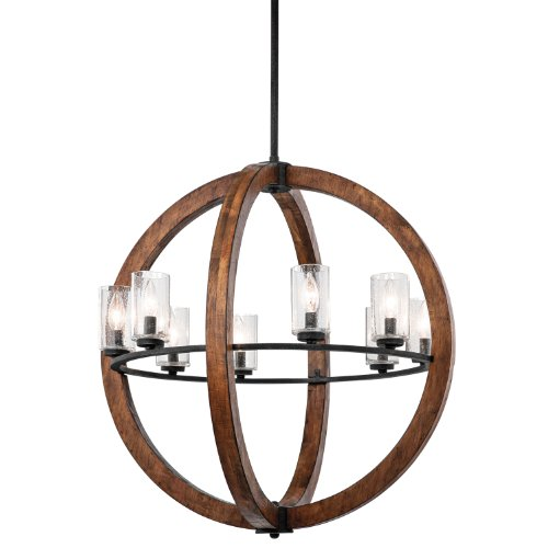 Hot Sale 43190AUB Grand Bank 8LT Pendant, Auburn Stain Finish with Clear Seedy Glass Shades