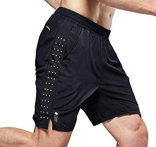 NICEWIN Men's 7-inch Running Shorts Quick Dry Lightweight Zipper Pocket Short Pants for Crossfit Athletic Gym Workout Black XL
