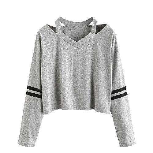 KPPONG Damen Pullover Sweatshirt V-Ausschnitt Pulli Mode Langärmliges Freizeit Sport T-Shirt Crop Tops Bluse