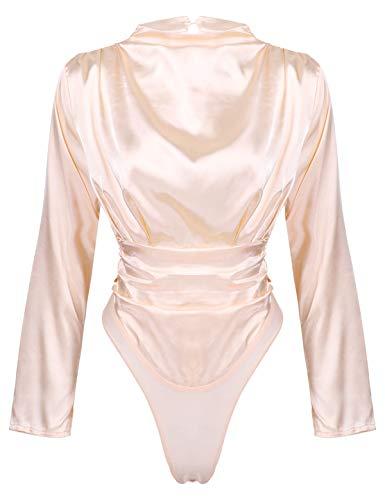 iEFiEL Damen Body Langarm Hemd-Body Stehkragen Satin Bluse Business Glanz Bodybluse Hemdbluse mit mit Druckknöpfe im Schritt Champagner Rosa L