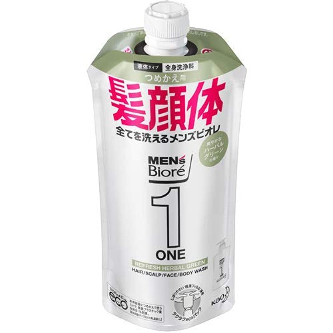 ささいな推測する特性【10個セット】メンズビオレONE オールインワン全身洗浄料 爽やかなハーブルグリーンの香り つめかえ用 340mL