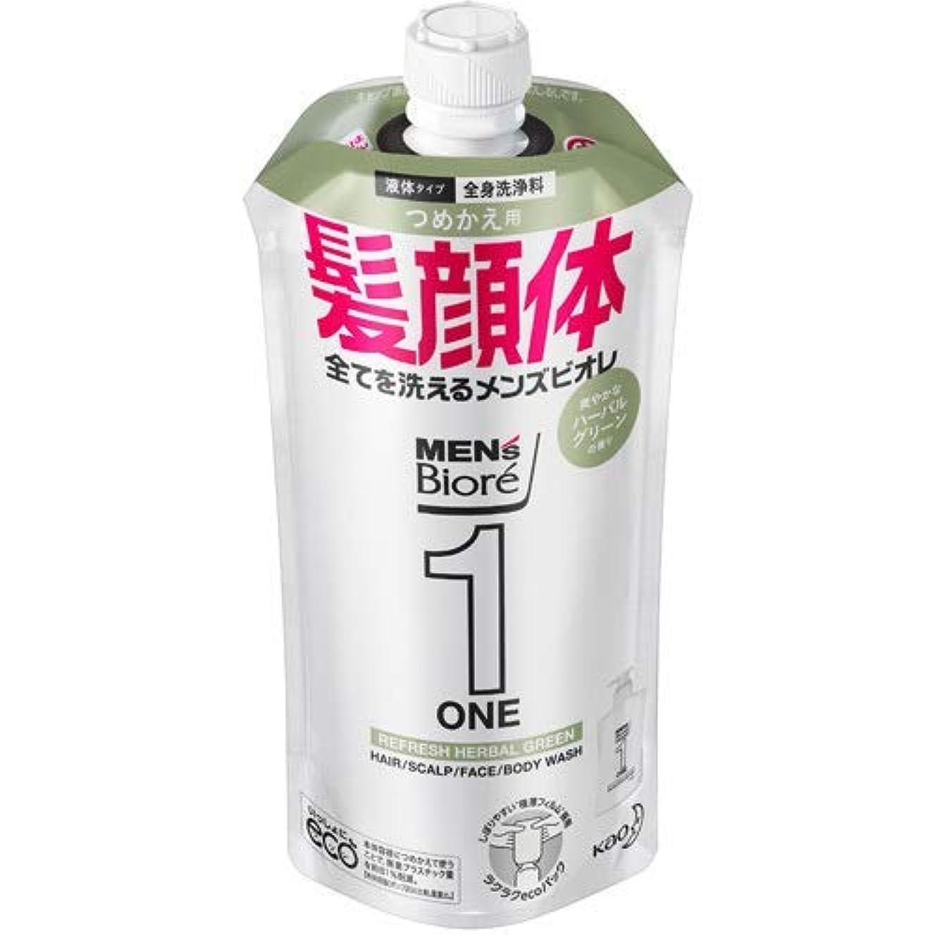 外部間に合わせオリエント【10個セット】メンズビオレONE オールインワン全身洗浄料 爽やかなハーブルグリーンの香り つめかえ用 340mL