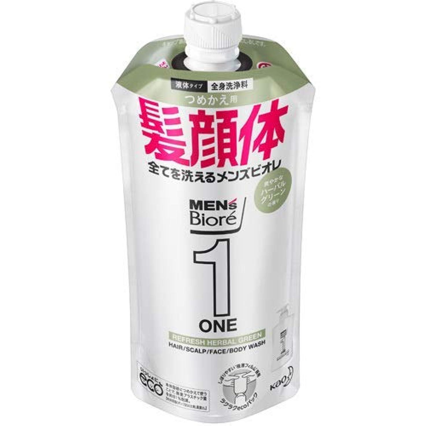 価値のないフローティング明日【10個セット】メンズビオレONE オールインワン全身洗浄料 爽やかなハーブルグリーンの香り つめかえ用 340mL