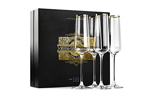 Gold Rimmed Champagne Toasting Glasses | Set of 4 | Crystal Square Gift...