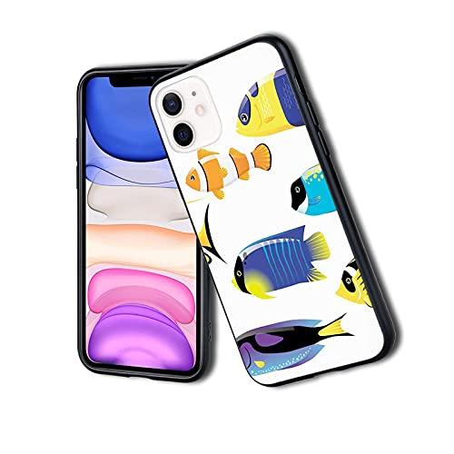 Tipos de criatura del mar con imagen de pez cirujano de la paleta del bacalao Atlántico, funda delgada del teléfono para iPhone 11Pro Max, silicona TPU protectora ligera ultra delgada patrón impreso