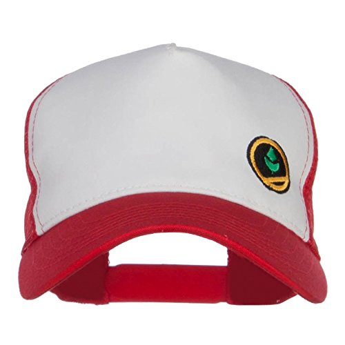 Trainer Red Poke Monster Embroidered Mesh Cap - White Red OSFM