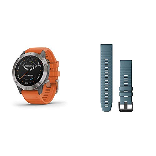 Garmin Fenix 6 Sapphire, Premium Multisport GPS Watch, Features Mapping, Music, Grade-Adjusted Pace Guidance, Titanium with Orange Band & Quickfit 22 Watch Band, Lakeside Blue Silicone