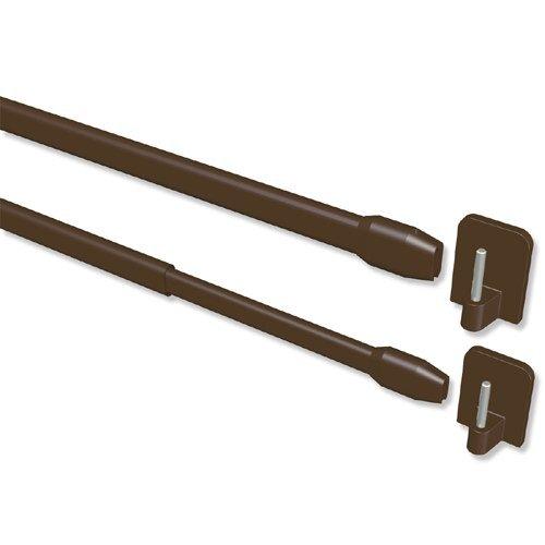 INTERDECO Vitragestangen mit Klebehaken/ausziehbare Scheibenstangen Braun (2 Stück), 60-100 cm