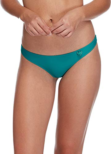 Body Glove Women's Thong Solid Minimal Coverage Bikini Bottom Swimsuit, Smoothies Peacock, Large