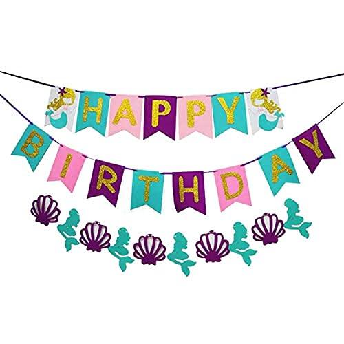 Guirnalda de cumpleaños con texto en alemán 'Alles Gute zum Meerjungjungjungwei Party Supplies Set de decoración de cumpleaños Happy