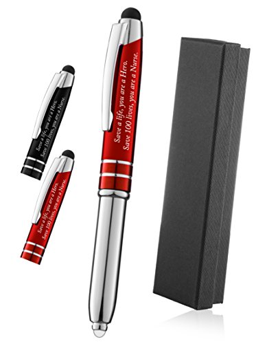 """Nurse Gift Pen With Engraved Messaged """"Save a Life, You are a Hero, Save 100 Lives You are a Nurse"""" - 3-In-1 Pen,Stylus,and Flashlight For the Nurses Notes Tablets and Phone - Red - By SyPen"""