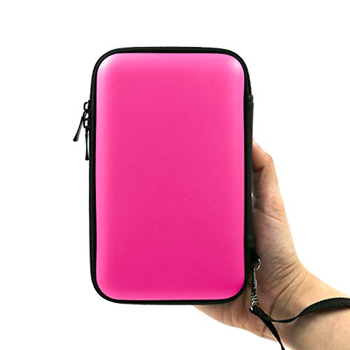 ADVcer 3DS Case, EVA Waterproof Hard Shield Protective Carrying Case with Detachable Hand Wrist Strap for Nintendo New 3DS XL, New 3DS, 3DS, 3DS XL, 3DS LL or 2DS XL or DSi, DS Lite (Pink)