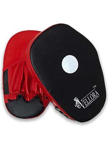 VELLORA Boxing Leather Punch Focus Mitts - Target Training Hand Pads for Karate, Muay Thai Kick, Sparring, Dojo, Martial Arts