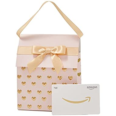 Amazon.com $50 Gift Card in a Pink and Gold Gift Bag