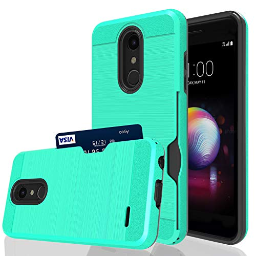 Ayoo Kompatibel mit LG K10 2018 Hülle, LG K30, LG CV3, LG K10+ 2018, LG Premier Pro LTE, LG K10 Alpha, LG K30 Plus, LG Phoenix Plus Hülle, Kartenfächer Halter Handyhülle für LG K10 2018-KC Mint