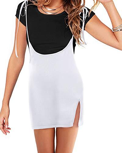 YOINS - Falda de tirantes para mujer, estilo casual, de cintura alta, acampanada, lisa, mini falda de patinaje