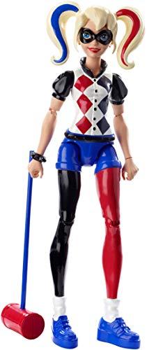 DC Super Hero Girls Figurine Articulée Harley Quinn de 15 cm aux cheveux tricolores en tenue de super-héroine à collectionner, jouet enfant, DMM36