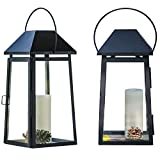 """SunnyFence 2Pack Set 18"""" Tall Large Black Decorative Hanging Metal and Glass Candle Lanterns/Light Holder for Indoor Outdoor, Holiday Christmas Decoration (No Candles Included)"""