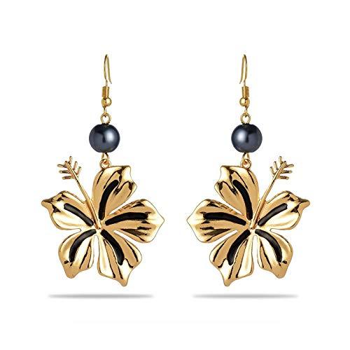 Pendientes de gota vintage chapados en oro con perlas girasoles hawaianos estilo Samoa de metal Gecko para mujer