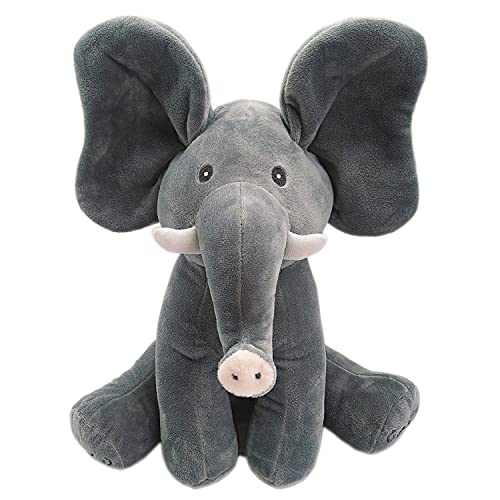 """Peek a Boo Elephant Singing Stuffed Animal Doll Hide-and-Seek Game Interactive Plush Toys for Kids Gift 12""""(Gray)"""