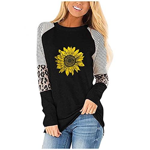 SHOBDW 2021 Liquidación Venta Camisas Mujer Empalme Cuello O Tops Girasol Moda Mujer Pullover Tops Talla Grande Suelto Casual Tops(Gris,XL)