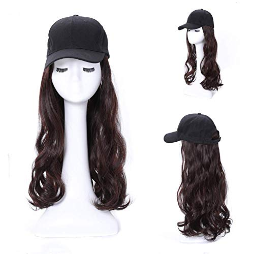 GAOFQ Peluca de Sombrero Rubio Largo y Rizado para Mujer Peluca de Sombrero Afro Pelucas sintéticas para Disfraz Fiesta 60Cm / 23.6 Pulgadas Marrón Negro