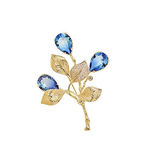 SHUTING2020 Broches de Boda Ladies Broche de Gama Alta Exquisito Encantador Broche Ropa Bufanda Chal Sombrero de decoración Accesorios (Azul de Oro/Oro púrpura) Broche de Vestir (Color : B)