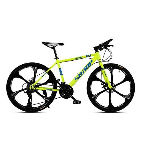 NOVOKART Mountain Bike Unisex, Bicicletas de Montaña 26 Pulgadas, para Hombre y Mujer MTB Bike con Asiento Ajustable, Freno de Doble Disco, Amarillo, 6 Cortadores Rueda, 21-Velocidad Cambio