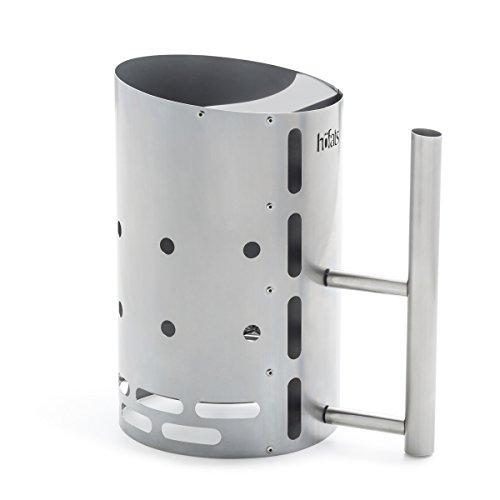 Höfats - BBQ Starter - aanmaakhaard voor het comfortabel aansteken van houtskool en grill - 2,5 kg capaciteit - met briketten en bougiepasta - roestvrij staal