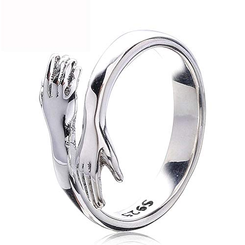Hug Ring Hands, Sterling Silver Adjustable Rings for Women, Silver Color Rings for Women Wedding Party Jewelry Gift (1pcs)