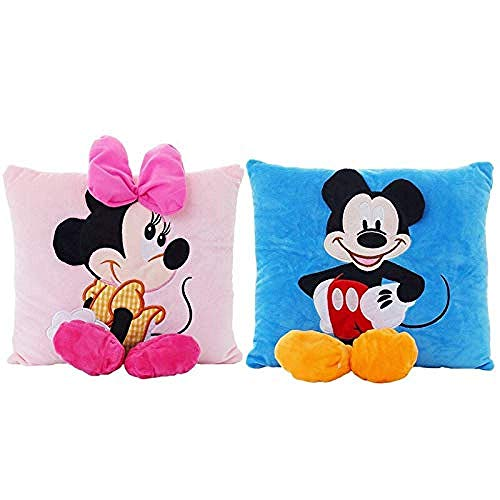Gefüllte Spielzeug 2pc 30 * 33cm Mickey Mouse und Minnie Plüsch Stofftier-weiche Plüsch-Kissen-Karikatur-Sofa-Auto-Kissen for Kinder Geburtstags-Geschenk LQH